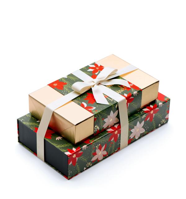 ready-gift-chocolate-SHX230706T-crimson-poinsettia-gourmet-popcorn-cookies-luxury-tasting-box-2-piece-gift-tower-2