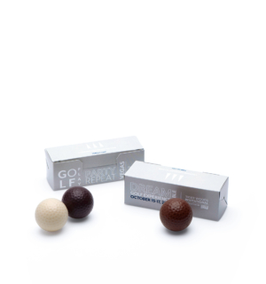 Custom golf ball trio printed box molded belgian chocolate with logo
