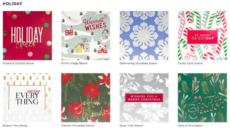 pre printed holiday foil sleeves